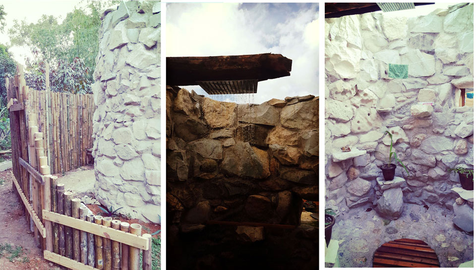 Open Sky Stone Showers Built at Camp Cabarita Well Being Eco Resort -