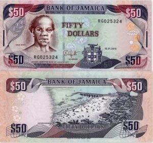 50 Jamaican Dollar Note Front The Right Excellent Samuel Sharpe National Hero Back Doctor S Cave Beach Montego Bay