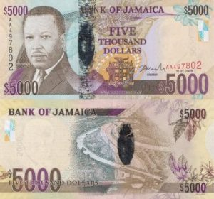 5000 Jamaican Dollar Note